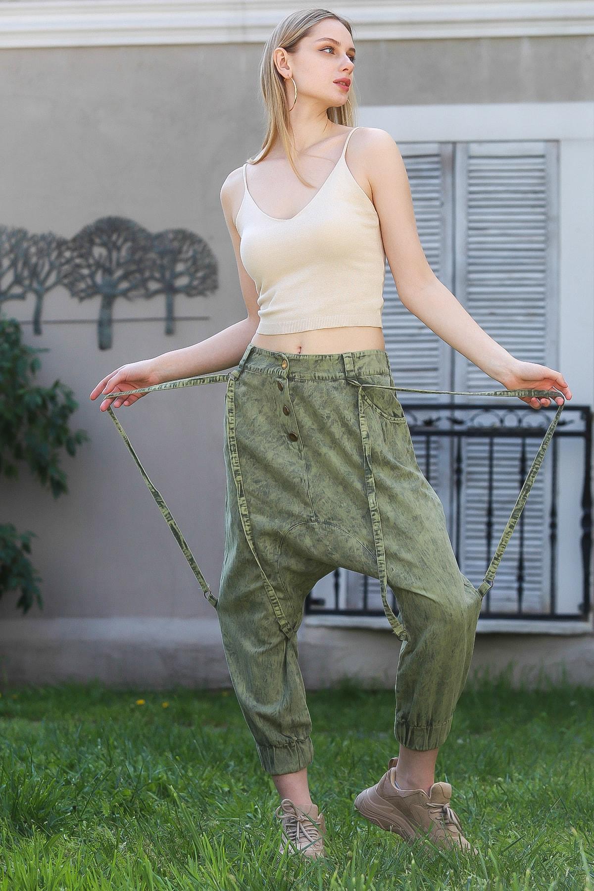 Chiccy Kadın Yeşil Özel Tasarım Çıtçıt Kapama İp Detaylı Yıkamalı Şalvar Pantolon M10060000PN98839