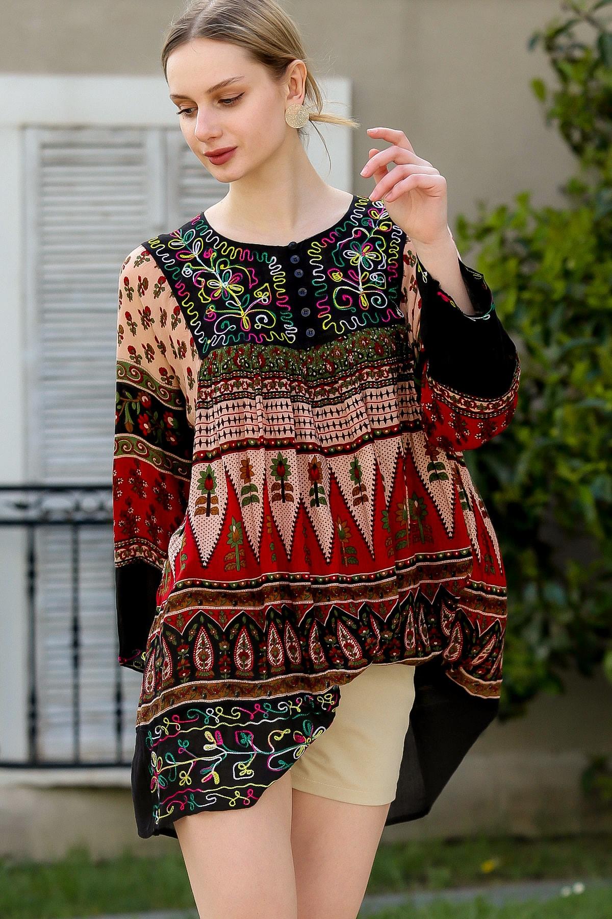 Chiccy Kadın Siyah-Bordo Robası Nakışlı Süs Düğmeli Hint İşi Dokuma Tunik  M10010500TN99620
