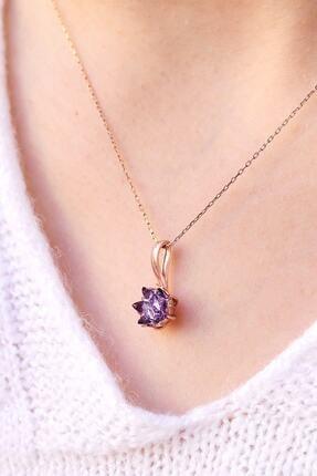 LOTUS GÜMÜŞ Mor Lotus Çiçeği 925 Ayar Gümüş Zincir Kadın Kolye