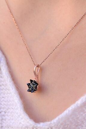 LOTUS GÜMÜŞ Siyah Lotus Çiçeği 925 Ayar Gümüş Zincir Kadın Kolye