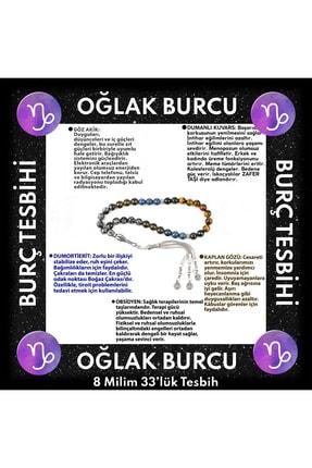 OSMANLI DOĞAL TAŞ Oğlak Burcu 33'lük Tesbih Dumortierit-obsidyen-kaplan Gözü-göz Akik-dumanlı Kuvars