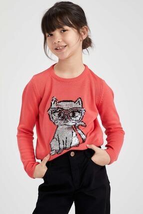DeFacto Kız Çocuk Pul Payet Işlemeli Triko Kazak
