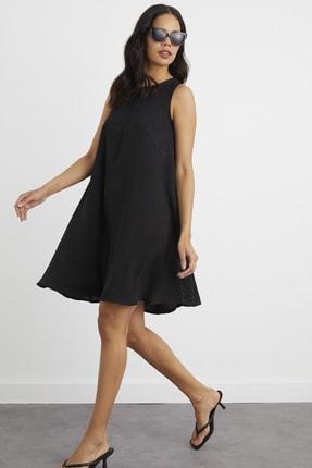 Cool & Sexy Kadın Siyah Yazlık Keten Salaş Elbise AFŞ3018