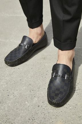 Sateen Men Erkek Siyah Tokalı Deri Ayakkabı