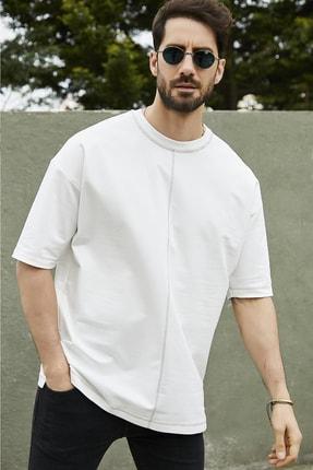 Sateen Men Erkek Ekru Dikişli Iki Iplik T-Shirt