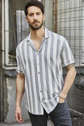 Sateen Men Erkek Gri Jakarlı Kısa Kol Gömlek