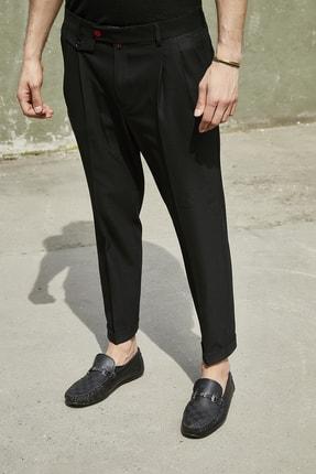 Sateen Men Erkek Siyah Duble Paça Pileli Pantolon