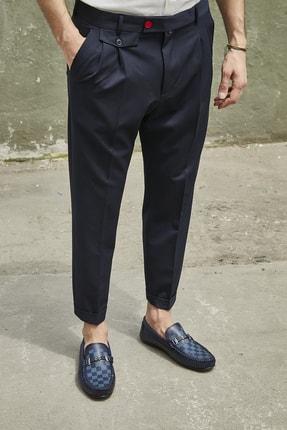 Sateen Men Erkek Lacivert Duble Paça Pileli Pantolon