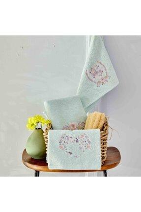 Karaca Home Elenie Su Yeşili Nakışlı 3lü Havlu Set
