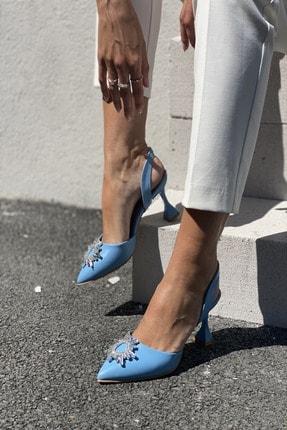 İnan Ayakkabı Kadın Mavi Sivri Burun Arka Bant Taş Detaylı Topuklu Ayakkabı