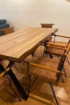Hamak Sepeti Doğal Ahşap Kütük Yemek Masası 80x140