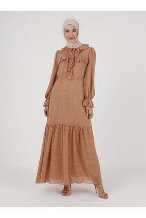 Loreen Kadın Kahverengi Fırfırlı Kol Uçları Lastik Detaylı Elbise
