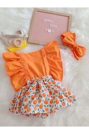 MERRABEBE Kız Bebek Turuncu Portakal Desenli Tulum Bandana Takım