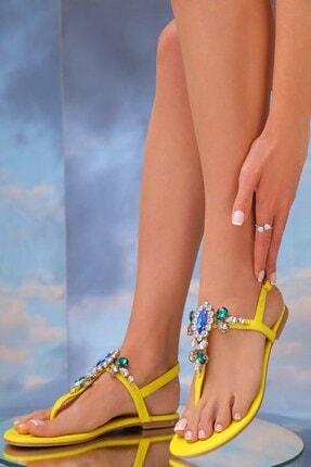 Oblavion kadın Lavion Hakiki Deri Günlük Taşlı Sandalet