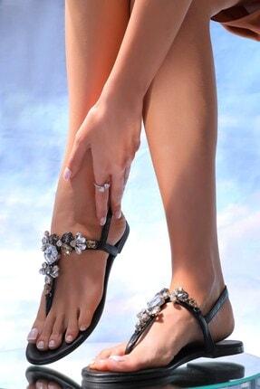 Oblavion Lavion Hakiki Deri Siyah Çok Renkli Günlük Taşlı Kadın Sandalet