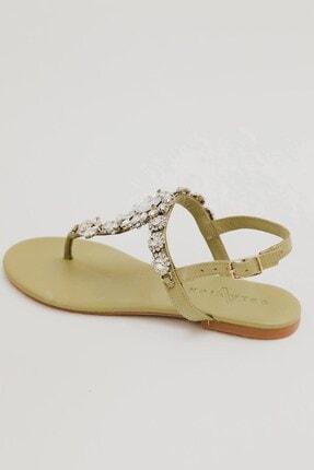Oblavion Kadın Mint Lavion Hakiki Deri Günlük Taşlı Sandalet
