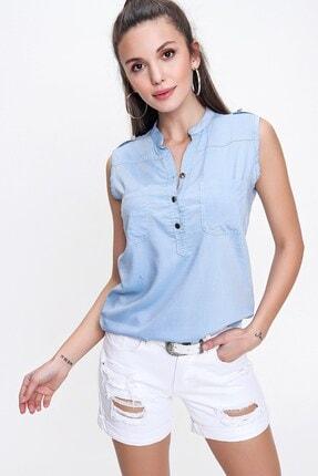 By Saygı Kadın Gömlek Bebe Mavi