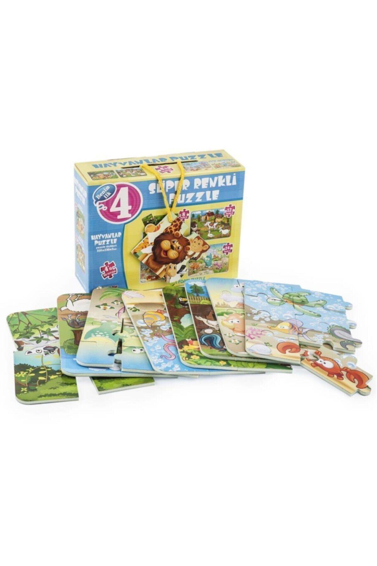 DIY Toys Hayvanlar Süper Renkli Puzzle 4'lü 1481 1
