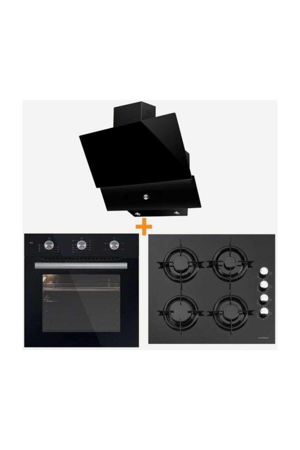 Luxell Kristal Serisi Siyah Cam Üçlü Ankastre Set 1