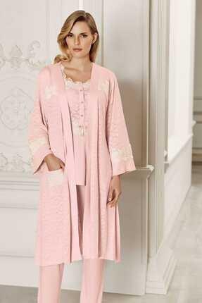 Artış Kadın Pudra 3lü Sabahlık Pijama Takım 6310 2