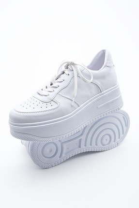 Marjin Kadın Sneaker Dolgu Topuk Spor Ayakkabı PinleBeyaz