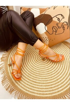 Elvinin Tarzı Kadın Turuncu Düğüm Detaylı Topuklu Ayakkabı