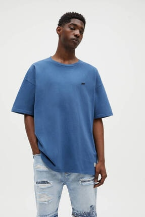 Pull & Bear Erkek Lacivert Kumaş Boyalı Mavi Stwd T-shirt