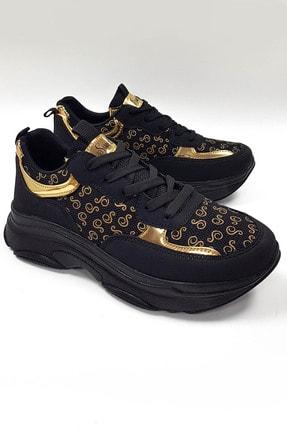 SWELLA Kadın Siyah Altın Spor Ayakkabı