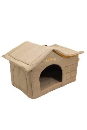 LAVİSTA Çatılı Kedi Ve Köpek Evi Sütlü Kahve Kadife Iç Mekan