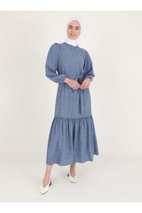 Loreen Volan Detaylı Elbise - Indigo -