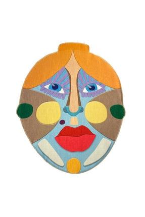 RUGSMODERN Renkli Yüz Desen Dekoratif Kaymaz Taban Çap Yıkanabilir Halı