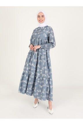 Loreen Kadın Ekru Desenli Elbise