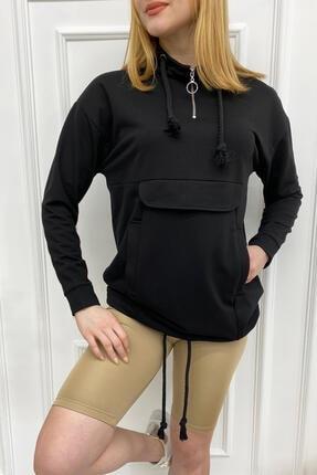 Eka Kadın Siyah Fermuarlı Cep Kapaklı Oversize Sweatshirt 0302-7001