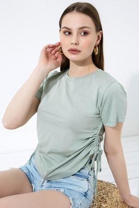 Vis a Vis Kadın Çağla Yeşili Büzgülü Basic Örme T-Shirt