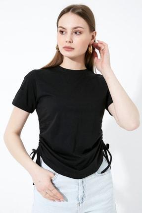 Vis a Vis Kadın Siyah Büzgülü Basic Örme T-Shirt