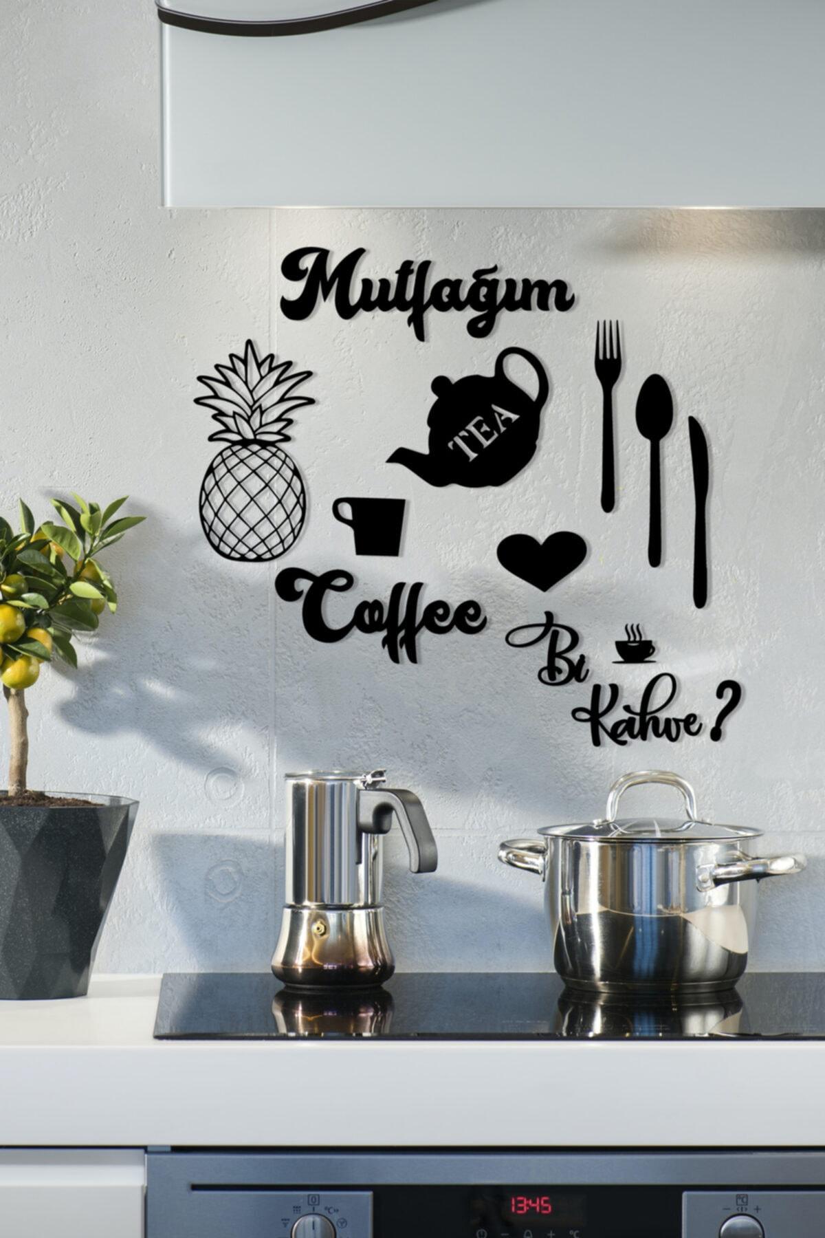 NT Handmade Siyah Mutfağım Ananas  Mutfak Konsepti Ahşap Duvar Dekoru 9 Parça 1