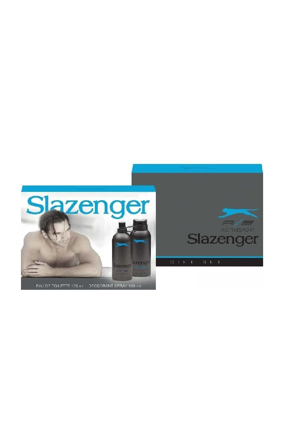 Slazenger Active Sport Mavi 125 ml Erkek Parfüm ve 150 ml Deodorant Set 1