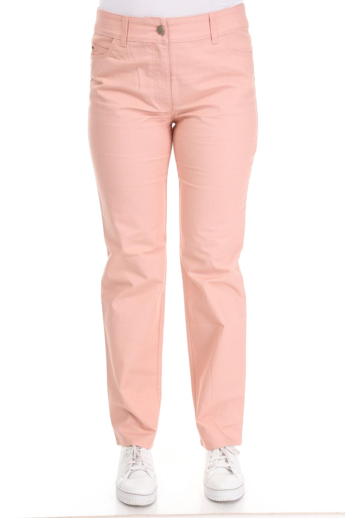 Big Free Kadın Pembe Arka Cebi Taşlı Bol Paça Pantolon UJ 2