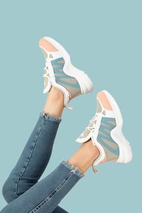 ROXS SHOES Kadın Pembe Beyaz Sneaker Spor Ayakkabı