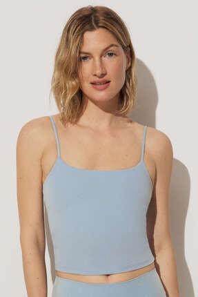 Oysho Kadın Mavi Askılı Streç T-Shirt