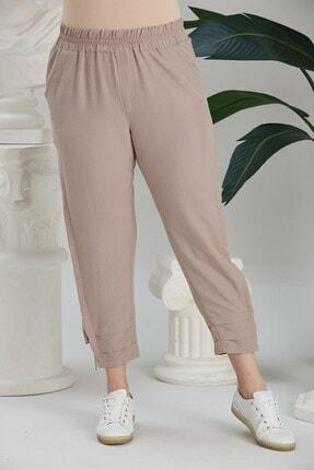 RMG Paça Yırtmaç Detaylı Beli Lastikli Büyük Beden Bej Pantolon