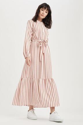 DeFacto Kadın Bordo Çizgili Volan Detaylı Relax Fit Kuşaklı Uzun Elbise