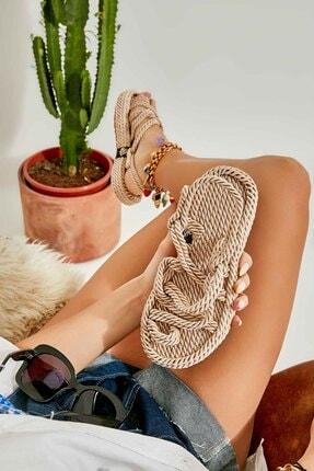 Bambi Vizon Kadın Hasır Sandalet K05787020476