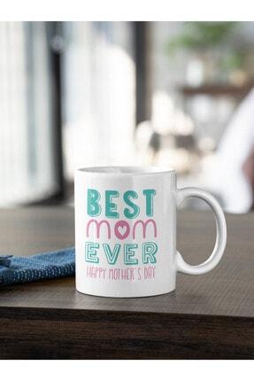 Kio Kupa Yaşam Tarzı Best Mom Ever 2 Yazı Baskılı Kupa Beyaz Porselen Mug