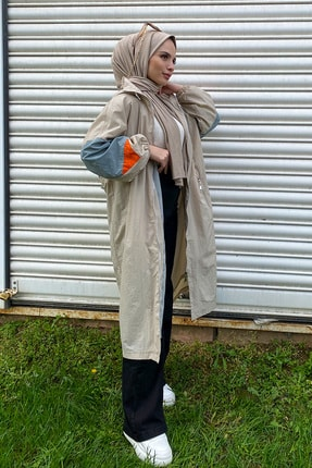 Minel Kadın Taş Belden Lastikli Kapüşonlu Dik Yaka Oversize Trençkot