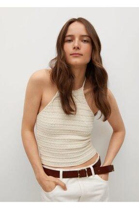 MANGO Woman Kadın Ekru Koton Triko Bluz