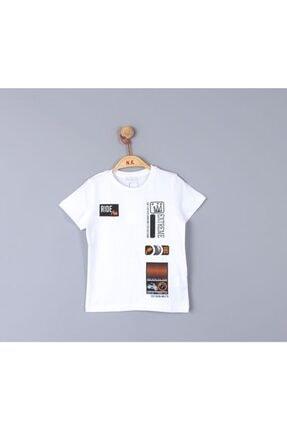 NK Erkek Çocuk Beyaz Ride Yazılı Bisiklet Yakalı Tshirt