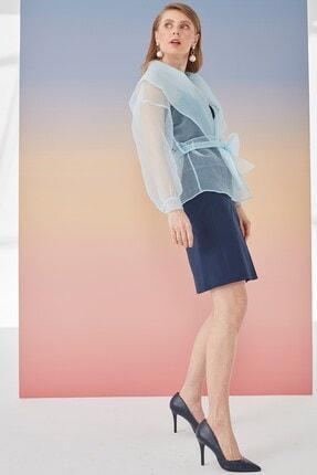 Journey Kadın Mavi Şal Yaka Detaylı Ceket