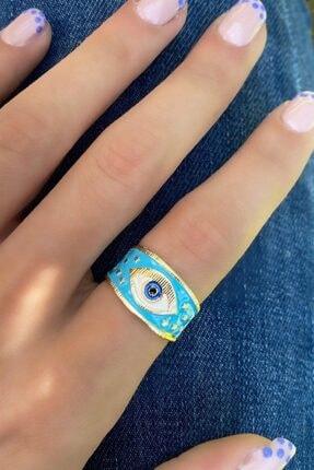 Design Look Kadın Mavi Göz Renkli Yüzük