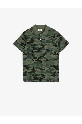 Koton Kids Erkek Çocuk Yeşil Kamuflaj Desenli Pamuklu Düğmeli Polo Yaka Ribanalı T-shirt